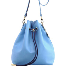 Load image into Gallery viewer, SCORE! Sarah Jean Crossbody Large BoHo Bucket Bag - Light Blue and Navy Blue