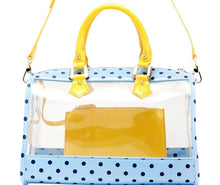 Load image into Gallery viewer, SCORE! Moniqua Large Designer Clear Crossbody Satchel -Light Blue, Navy Blue and  Yellow Gold