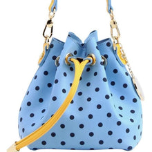 Load image into Gallery viewer, SCORE! Sarah Jean Small Crossbody Polka dot BoHo Bucket Bag - Light Blue, Navy Blue and Yellow Gold  Alpha Xi Delta, Omega Phi Alpha, Phi Sigma Sigma sorority sisters, or a sports bar with friends to watch  