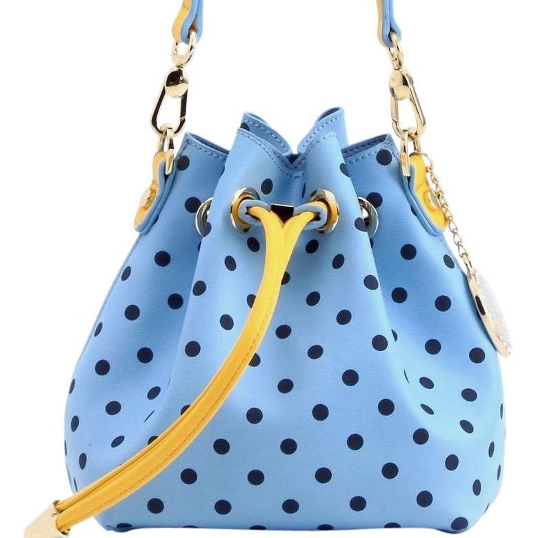 SCORE! Sarah Jean Small Crossbody Polka dot BoHo Bucket Bag - Light Blue, Navy Blue and Yellow Gold  Alpha Xi Delta, Omega Phi Alpha, Phi Sigma Sigma sorority sisters, or a sports bar with friends to watch  