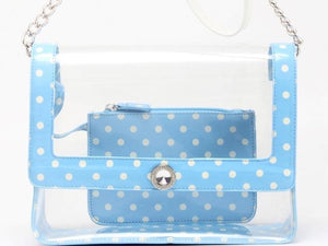 SCORE! Chrissy Medium Designer Clear Cross-body Bag - Light Blue and White