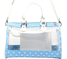 Load image into Gallery viewer, SCORE! Moniqua Large Designer Clear Crossbody Satchel - Light Blue and White