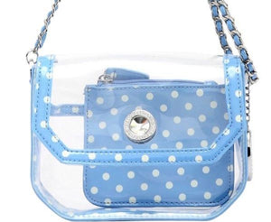 SCORE! Chrissy Small Designer Clear Crossbody Bag - Light Blue and White