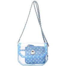 Load image into Gallery viewer, SCORE! Chrissy Small Designer Clear Crossbody Bag - Light Blue and White