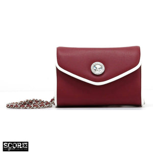 SCORE! Eva Designer Crossbody Clutch- Maroon Crimson and White
