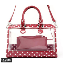 Load image into Gallery viewer, SCORE! Moniqua Large Designer Clear Crossbody Satchel - Maroon and White