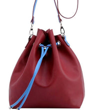 Load image into Gallery viewer, SCORE! Sarah Jean Crossbody Large BoHo Bucket Bag- Maroon and Blue