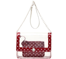 Load image into Gallery viewer, SCORE! Chrissy Medium Designer Clear Cross-body Bag - Maroon and Silver