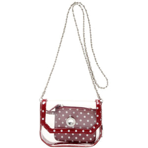 SCORE! Chrissy Small Designer Clear Crossbody Bag - Maroon and Silver