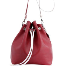 Load image into Gallery viewer, SCORE! Sarah Jean Crossbody Large BoHo Bucket Bag - Maroon Crimson and White