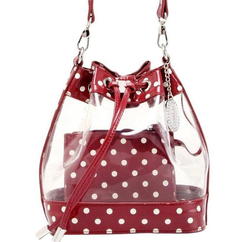SCORE! Clear Sarah Jean Designer Crossbody Polka Dot Boho Bucket Bag-Maroon Crimson and White