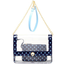 Load image into Gallery viewer, SCORE! Chrissy Medium Designer Clear Cross-body Bag -Navy Blue and Light Blue