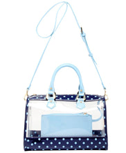 Load image into Gallery viewer, SCORE! Moniqua Large Designer Clear Crossbody Satchel - Navy Blue and Light Blue