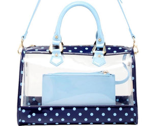 SCORE! Moniqua Large Designer Clear Crossbody Satchel - Navy Blue and Light Blue