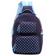 Load image into Gallery viewer, SCORE! Natalie Michelle Medium Polka Dot Designer Backpack  - Navy Blue and Light Blue