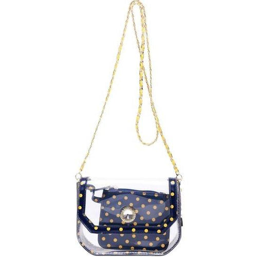 SCORE! Chrissy Small Designer Clear Crossbody Bag -Navy Blue and Gold - Yellow