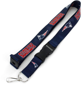 New England Patriots Officially Licensed Blue, White and Red NFL Logo Team Lanyard