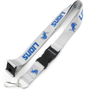 Detroit Lions Officially NBA Licensed White and Blue Logo Team Lanyard