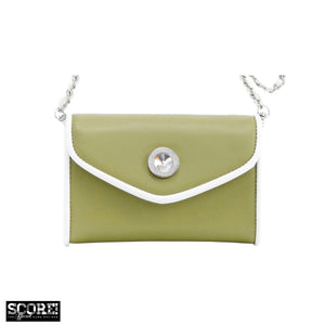 SCORE! Eva Designer Crossbody Clutch - Olive Green and White