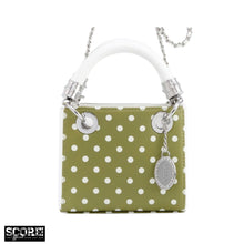 Load image into Gallery viewer, SCORE! Jacqui Classic Top Handle Crossbody Satchel - Olive Green and White