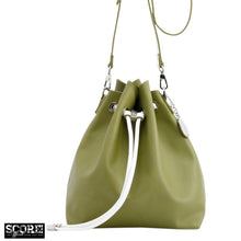 Load image into Gallery viewer, SCORE! Sarah Jean Crossbody Large BoHo Bucket Bag - Olive Green and White