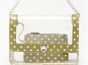 SCORE! Chrissy Medium Designer Clear Cross-body Bag - Olive Green and White