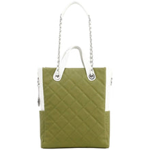 Load image into Gallery viewer, SCORE!'s Kat Travel Tote for Business, Work, or School Quilted Shoulder Bag - Olive Green and White