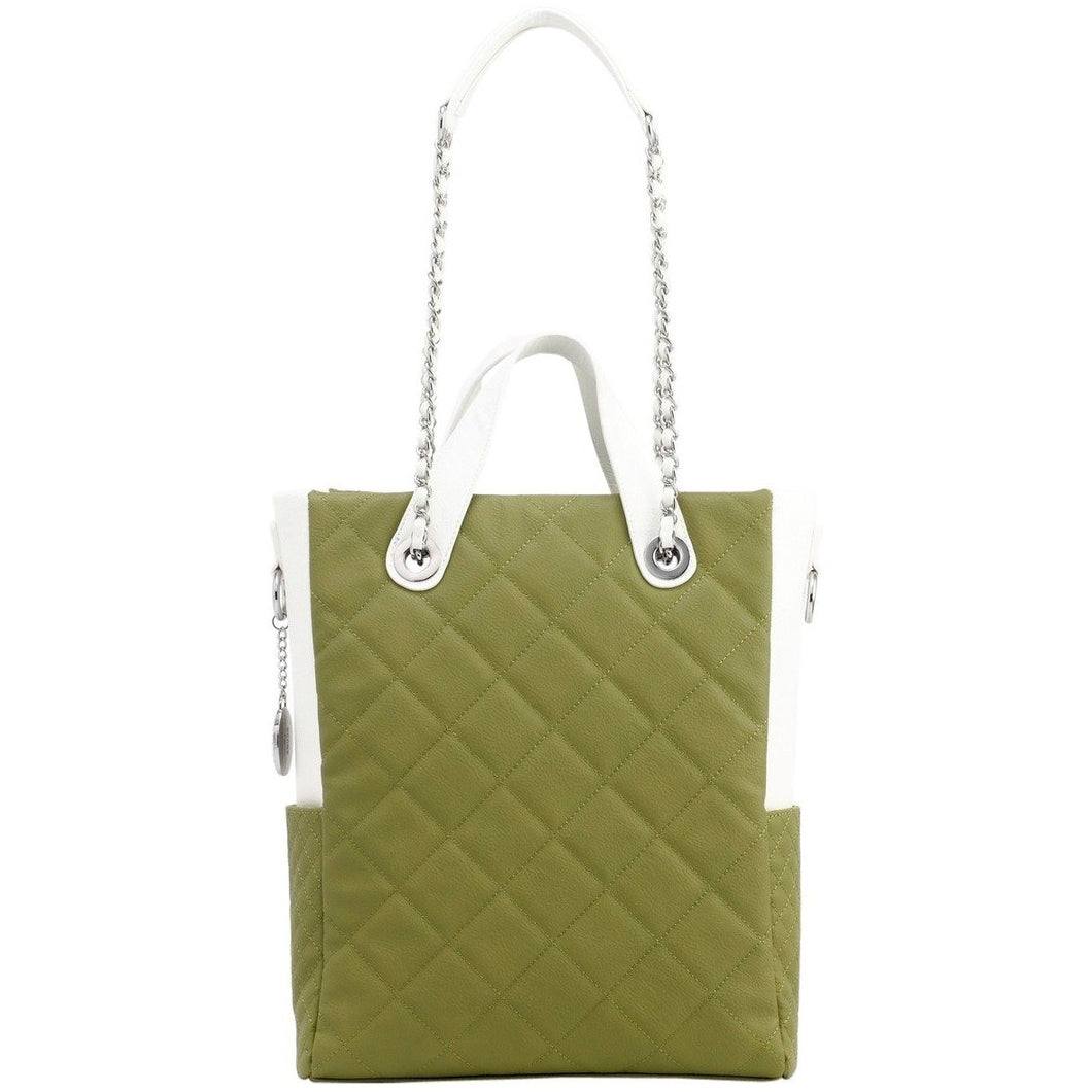 SCORE!'s Kat Travel Tote for Business, Work, or School Quilted Shoulder Bag - Olive Green and White
