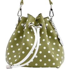 Load image into Gallery viewer, SCORE! Sarah Jean Small Crossbody Polka dot BoHo Bucket Bag - Olive Green and White  Kappa Delta sorority, Portland State University Oregon Vikings, US Army