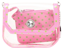 Load image into Gallery viewer, SCORE! Chrissy Small Designer Clear Crossbody Bag - Pink and Green