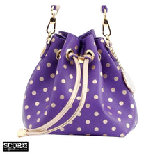 Load image into Gallery viewer, SCORE! Sarah Jean Small Crossbody Polka dot BoHo Bucket Bag - Purple and Gold Gold Phi Chi Theta, Delta Phi Epsilon, Epsilon Phi Alpha Delta, Prairie View A&M Panthers, LSU, Albany Great Danes, East Carolina Pirates, Lipscomb Bisons, Tennessee Tech Golden Eagles, Western Illinois Leathernecks