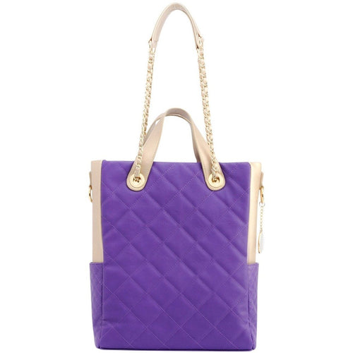 SCORE!'s Kat Travel Tote for Business, Work, or School Quilted Shoulder Bag - Purple and Gold Gold