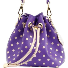Load image into Gallery viewer, SCORE! Sarah Jean Small Crossbody Polka dot BoHo Bucket Bag - Purple and Gold Gold James Madison Dukes, University of North Alabama Lions, University of Washington Huskies, Western Carolina University Catamounts, Benedict College Tigers, Western Carolina Catamounts, NFL's Baltimore Ravens, MLS Orlando City FC Lions