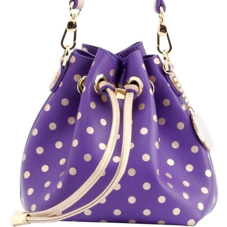 SCORE! Sarah Jean Small Crossbody Polka dot BoHo Bucket Bag - Purple and Gold Gold James Madison Dukes, University of North Alabama Lions, University of Washington Huskies, Western Carolina University Catamounts, Benedict College Tigers, Western Carolina Catamounts, NFL's Baltimore Ravens, MLS Orlando City FC Lions