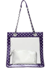 Load image into Gallery viewer, SCORE! Andrea Large Clear Designer Tote for School, Work, Travel - Royal Purple and White