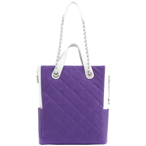 SCORE!'s Kat Travel Tote for Business, Work, or School Quilted Shoulder Bag - Purple and White