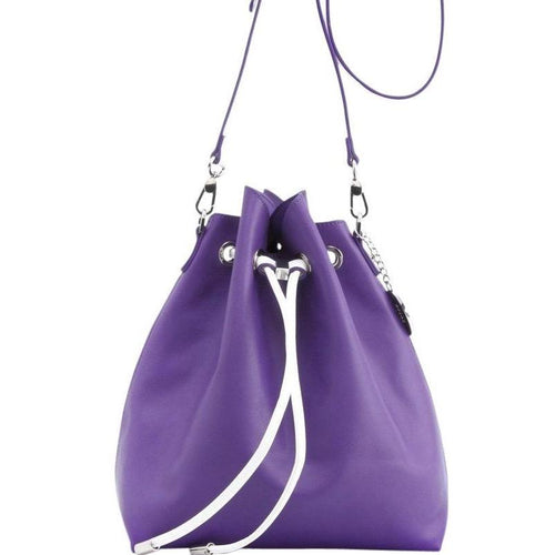 SCORE! Sarah Jean Crossbody Large BoHo Bucket Bag - Purple and White