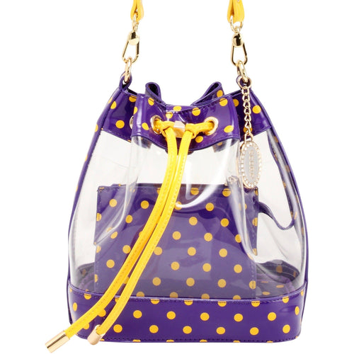 SCORE! Clear Sarah Jean Designer Crossbody Polka Dot Boho Bucket Bag-Purple and Gold Yellow