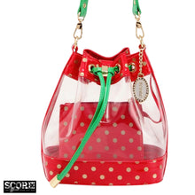 Load image into Gallery viewer, SCORE! Clear Sarah Jean Designer Crossbody Polka Dot Boho Bucket Bag-Red, Gold and Green