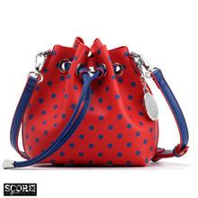 Load image into Gallery viewer, SCORE! Sarah Jean Small Crossbody Polka dot BoHo Bucket Bag - Red and Blue DePaul Blue Demons, Duquesne Dukes, Dayton Flyers