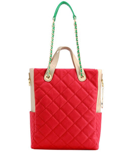 SCORE!'s Kat Travel Tote for Business, Work, or School Quilted Shoulder Bag -  Red, Gold and Green