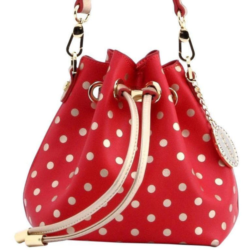 SCORE! Sarah Jean Small Crossbody Polka Dot BoHo Bucket Bag - Red and Gold Chi Omega, Sigma Alpha Iota sorority, Nebraska Cornhuskers, 