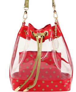 SCORE! Clear Sarah Jean Designer Crossbody Polka Dot Boho Bucket Bag-Red and Olive Green