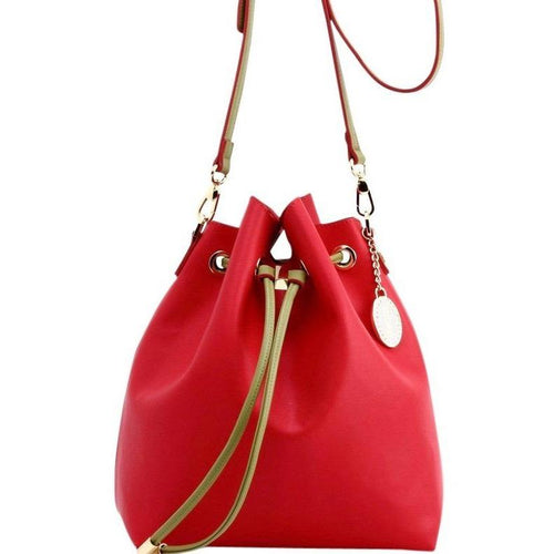 SCORE! Sarah Jean Crossbody Large BoHo Bucket Bag - Red and Olive Green