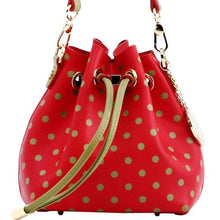 Load image into Gallery viewer, SCORE! Sarah Jean Small Crossbody Polka dot BoHo Bucket Bag - Red and Olive Green Washington State University Cougars, Alpha Chi Omega, Alpha Sigma Alpha