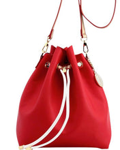 Load image into Gallery viewer, SCORE! Sarah Jean Crossbody Large BoHo Bucket Bag - Red, White, and Gold
