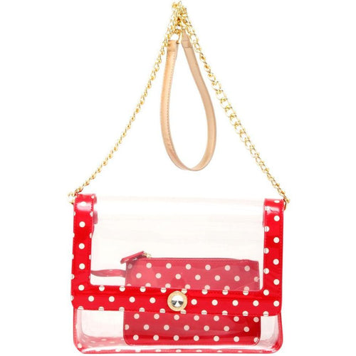 SCORE! Chrissy Medium Designer Clear Cross-body Bag -Racing Red, White and Metallic Gold