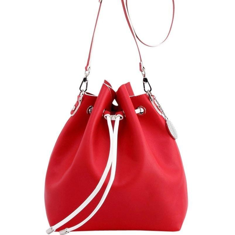 SCORE! Sarah Jean Crossbody Large BoHo Bucket Bag - Red and White