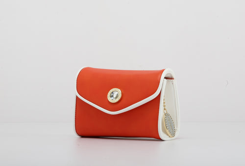 SCORE! Eva Designer Crossbody Clutch - Bright Orange and White