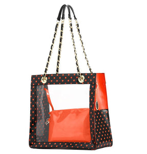SCORE! Andrea Large Clear Designer Tote for School, Work, Travel - Black and Orange